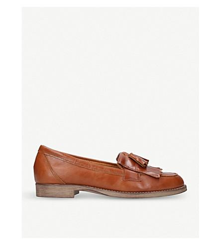 Klarke Snake-Embossed Leather Tassel Loafers in Tan
