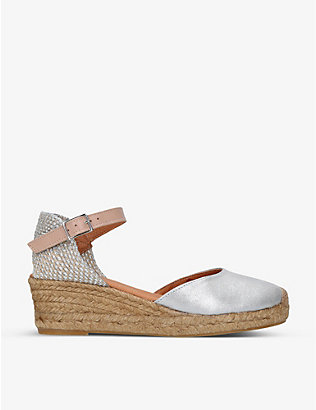 KURT GEIGER LONDON: Minty metallic leather wedge sandals