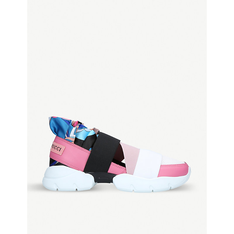 PUCCI City Up Leather And Mesh Trainers in Pale Pink