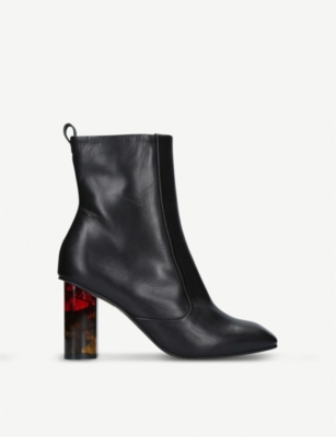 KURT GEIGER LONDON Stride 90 tortoiseshell-detail leather ankle boots