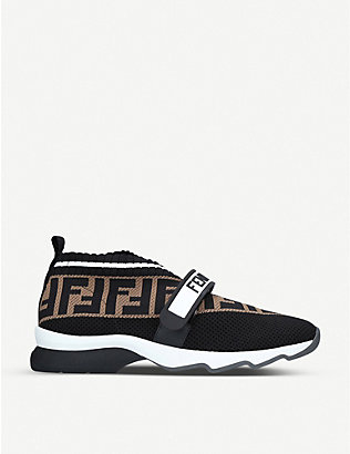 FENDI: Rockoko knitted, leather and PVC trainers