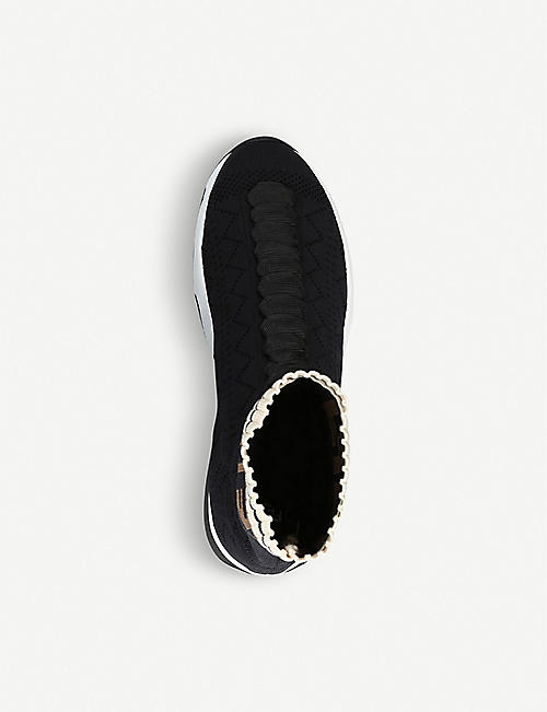 FENDI Logo-trim openwork knitted sock trainers