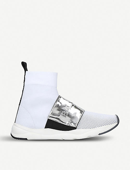 c9175295db BALMAIN Cameron stretch-knit and metallic-leather high-top trainers