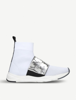 BALMAIN Cameron stretch-knit and metallic-leather high-top trainers