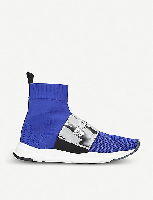 d88e4ddd92 BALMAIN Cameron mesh and metallic-leather sock trainers