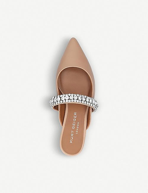 KURT GEIGER LONDON Princely embellished-strap leather mules