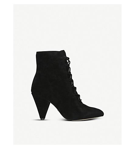 Kurt Geiger Vivian Black Suede Lace Up Heeled Ankle Boots - Black