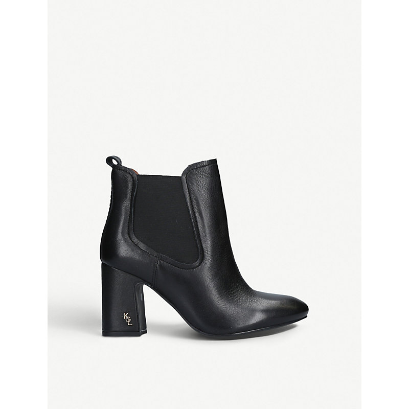 Raylan Heeled Leather Ankle Boots, Black
