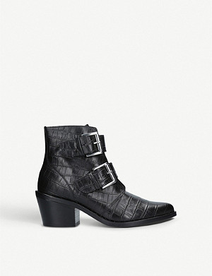 KURT GEIGER LONDON Denny crocodile-embossed leather ankle boots