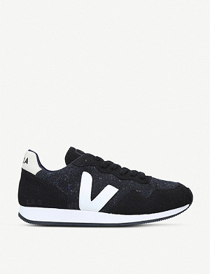 VEJA SDU leather and speckled-knit trainers