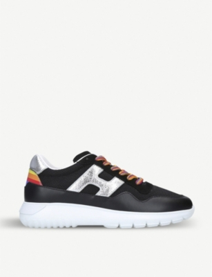 HOGAN Interactive 3 tainbow trim leather and mesh trainers