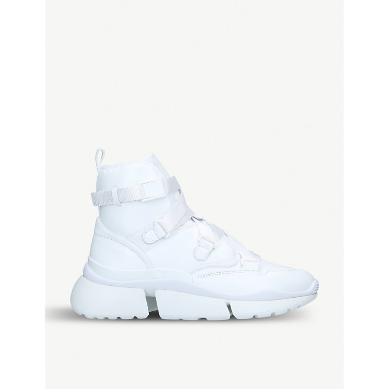 ChloÉ Sonnie Leather High-Top Trainers In White