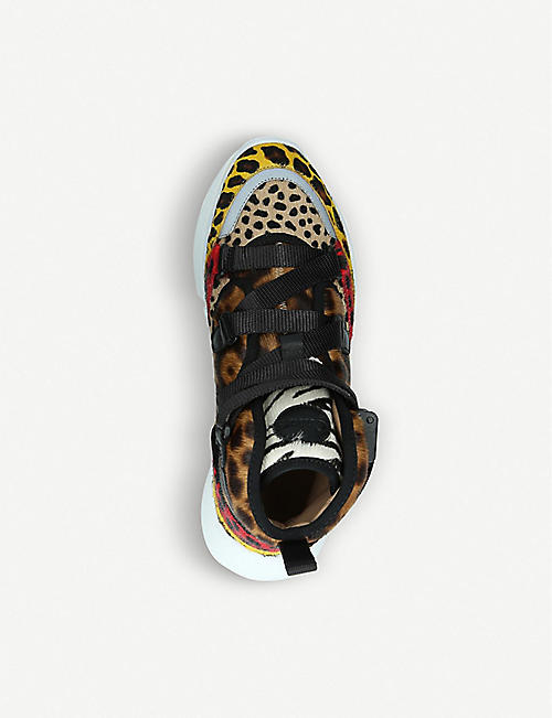 CHLOE Sonnie leopard-print leather and calf-hair high-top trainers