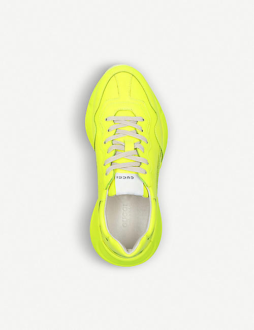 GUCCI Rhyton neon leather trainers