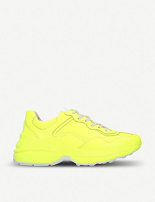 cheaper 460b5 4556a GUCCI Rhyton neon leather trainers