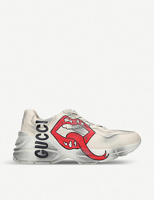 7c6385b236c3 GUCCI Rhython mouth-print leather trainers