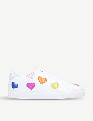 KURT GEIGER LONDON Lio metallic hearts leather trainers