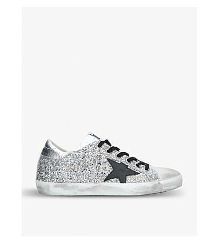 f4d04aa2e50 GOLDEN GOOSE Superstar H14 glittered-leather trainers (Silver