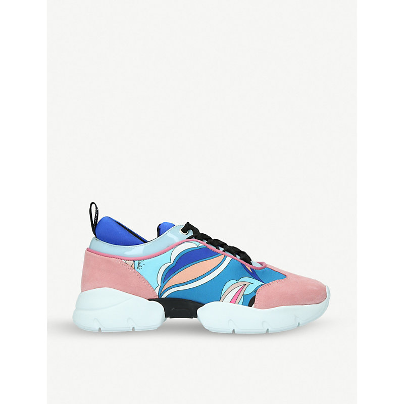PUCCI City Low Lace Leather And Suede Trainers in Pink Comb