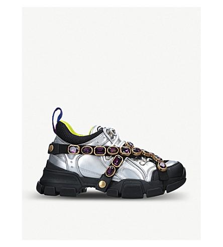 ... GUCCI Flash Trek metallic-leather sneakers (Silver+com. PreviousNext 4677984805c