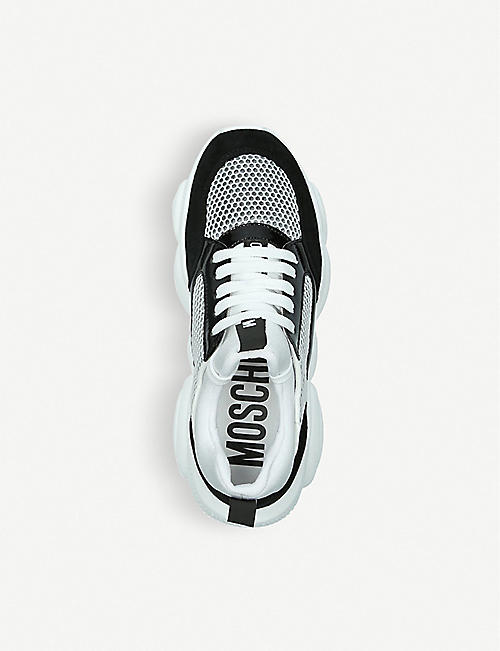 MOSCHINO Teddy Sole leather and mesh trainers