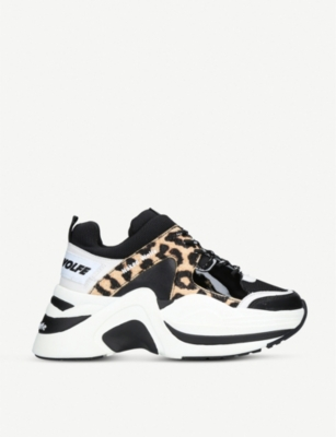 MINI MELISSA Track Leopard leather and mesh trainers