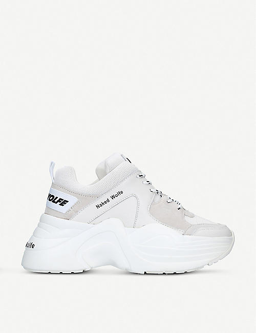NAKED WOLFE Track leather and mesh trainers