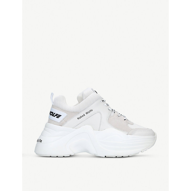 NAKED WOLFE Track Leather And Mesh Trainers in White