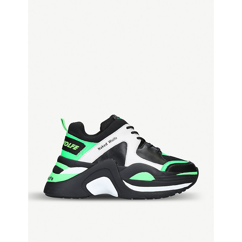 Track Leather And Mesh Trainers, Green Comb