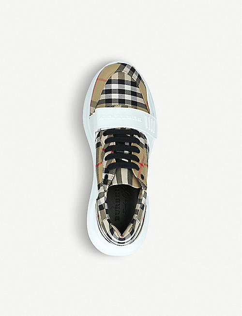 BURBERRY Regis checked canvas and rubber trainers