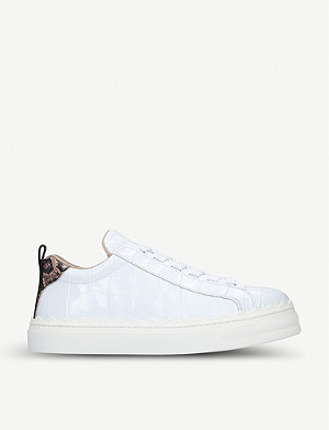 CHLOE Lauren scalloped-trim leather trainers