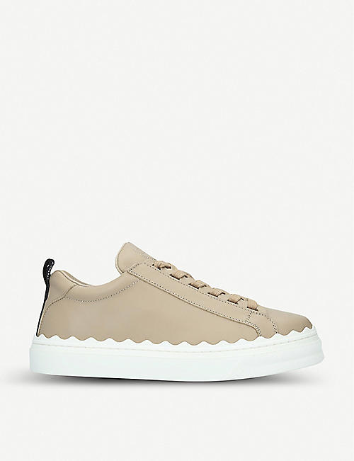 CHLOE: Lauren scalloped-trim leather trainers