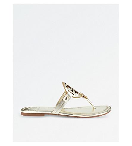 1a3cb0f522049 TORY BURCH Miller metallic leather flat sandals (Gold