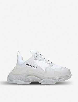 BALENCIAGA Womens Triple S Bubble leather and mesh trainers