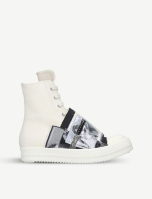 DRKSHDW Patch-detail canvas and leather high-top trainers