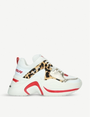 NAKED WOLFE Track Leopard leather and mesh sneakers