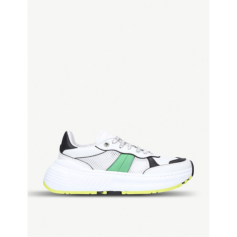 BOTTEGA VENETA SPEEDSTER LEATHER AND MESH TRAINERS