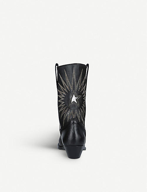 74e73054fc2a GOLDEN GOOSE Wish Star embroidered textured-leather cowboy boots