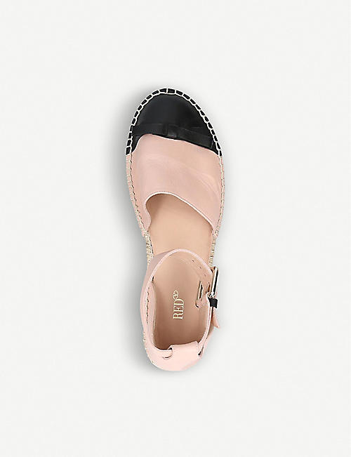 RED VALENTINO Two-tone bow-embellished leather espadrilles