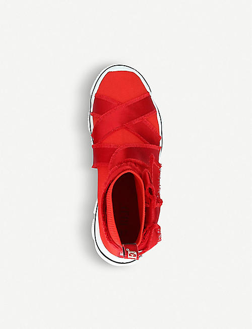 RED VALENTINO Glam Run ribbon-appliqué stretch-knit trainers