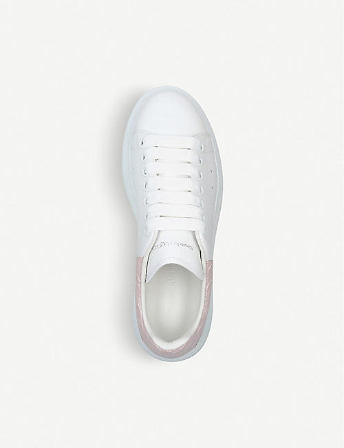 ALEXANDER MCQUEEN Runway crocodile-embossed detail leather trainers