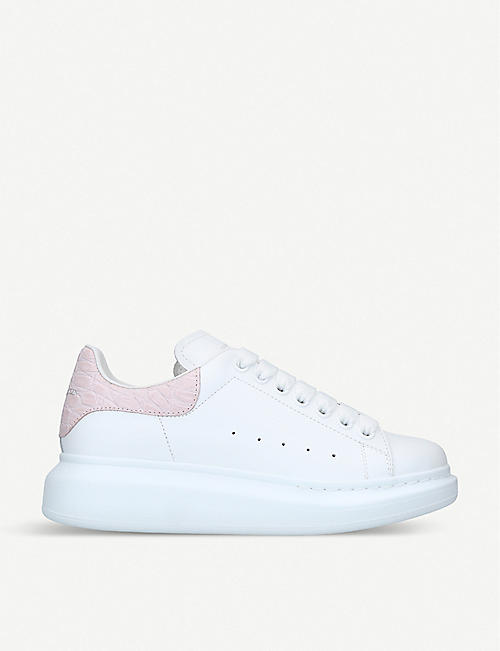 75e8694064d ALEXANDER MCQUEEN Runway crocodile-embossed detail leather trainers