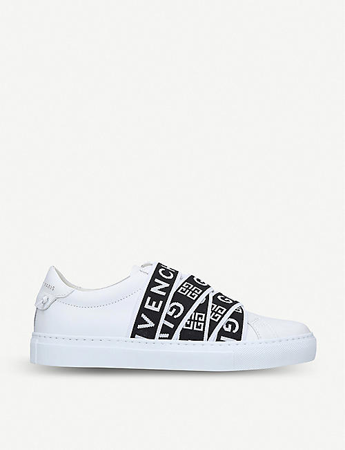 GIVENCHY Logo-tape leather trainers