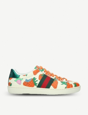 GUCCI New Ace strawberry-print leather trainers