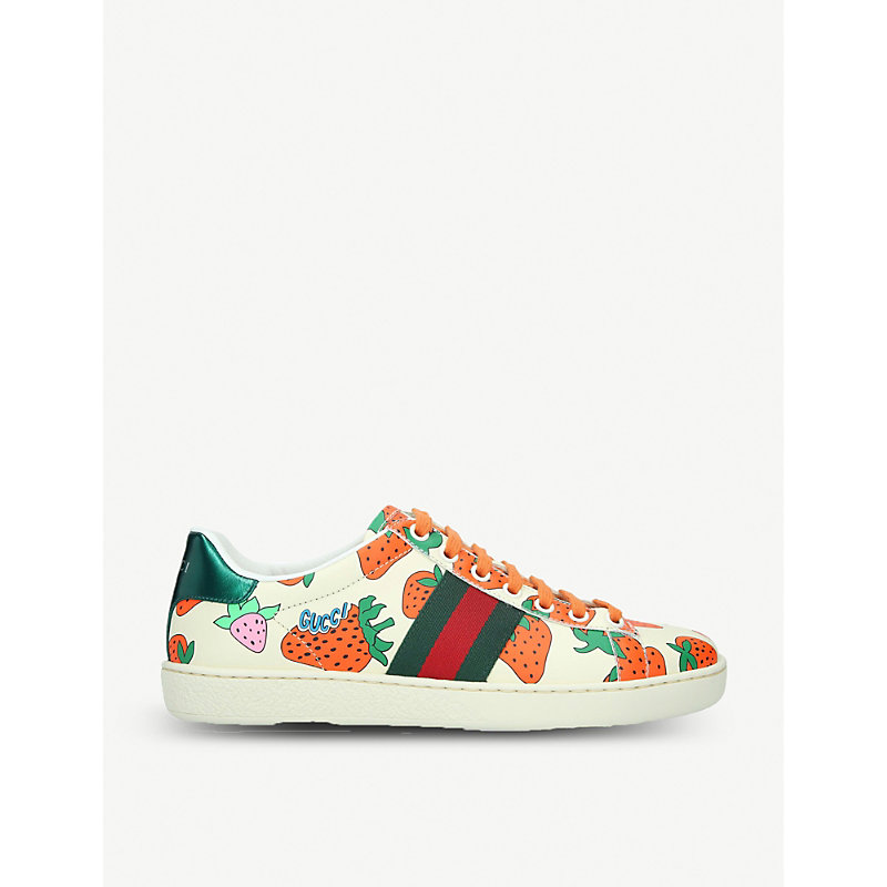 13fc1a5a659 Gucci New Ace Strawberry-Print Leather Trainers In White