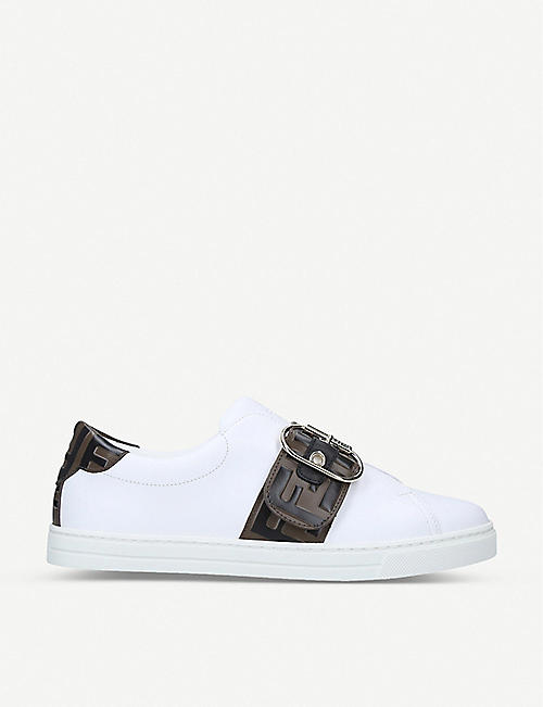 FENDI: FF logo-strap leather trainers