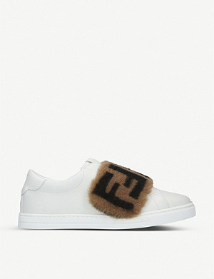 FENDI FF-band leather low-top trainers