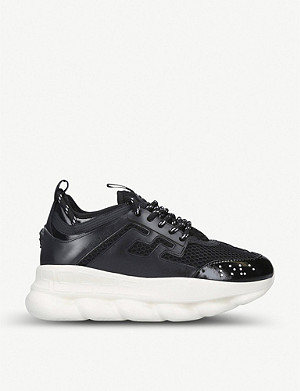 d5de268e VERSACE - Chain Reaction mesh and leather trainers ...