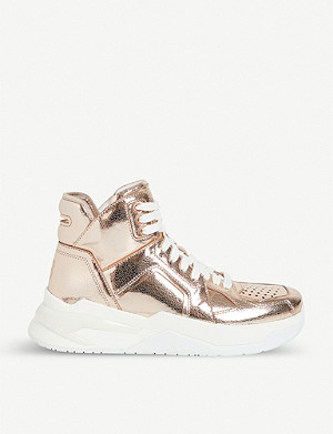 BALMAIN B Ball metallic leather trainers