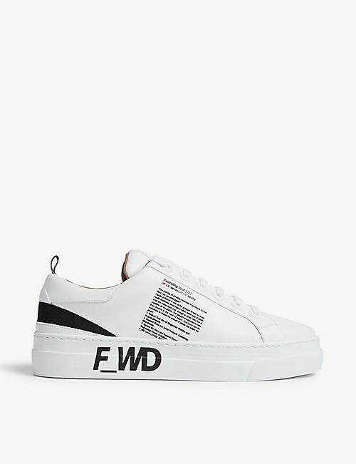 F WD Recycling-print leather platform trainers